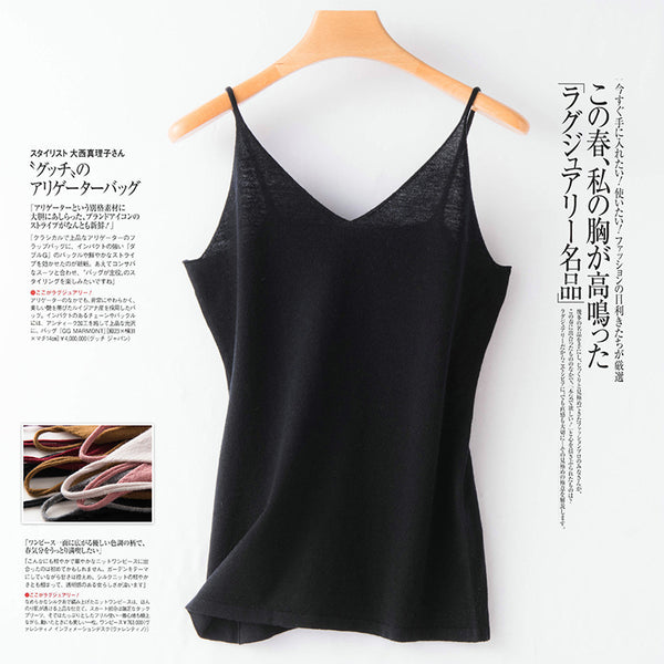 100##@ pure wool camisole female v-neck pullover short paragraph Slim wild bottoming knit halter top female Bra