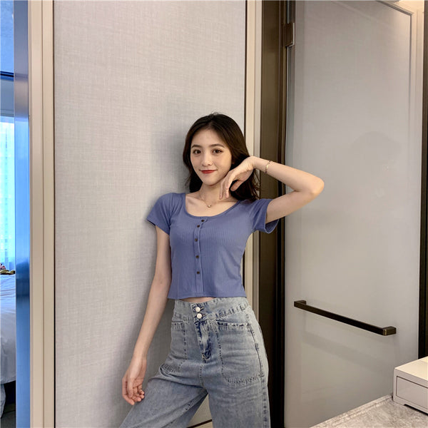 Spring 2020 Korean short-sleeved short paragraph was thin t-shirt new Korean version of cultivating wild WTA red shirt 18-24 years of age