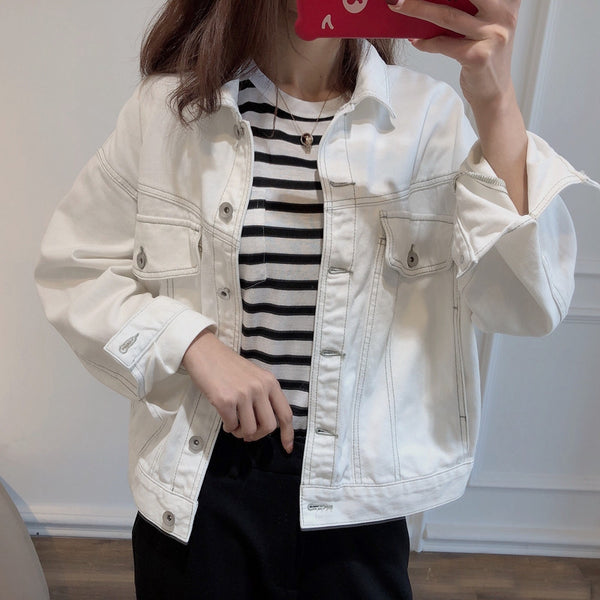 Incase single ultra-thin super nice huge fashionable Western style original soft white denim jacket