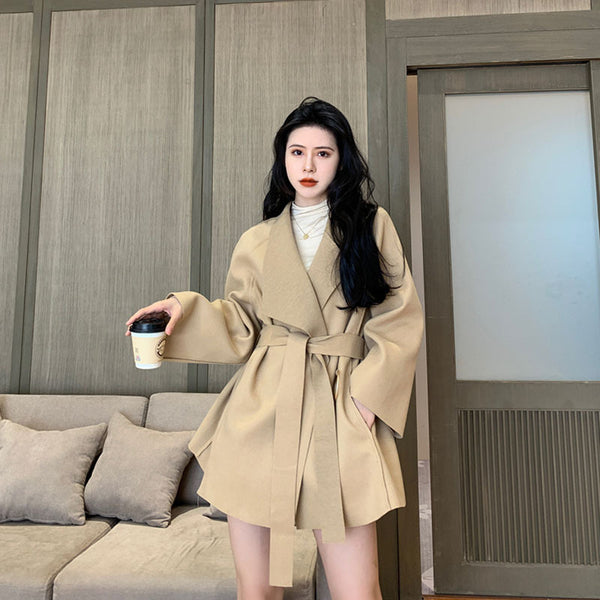 Spring 2020 new small fragrant wind loose thin woolen coat female waist Western style suit collar woolen coat tide