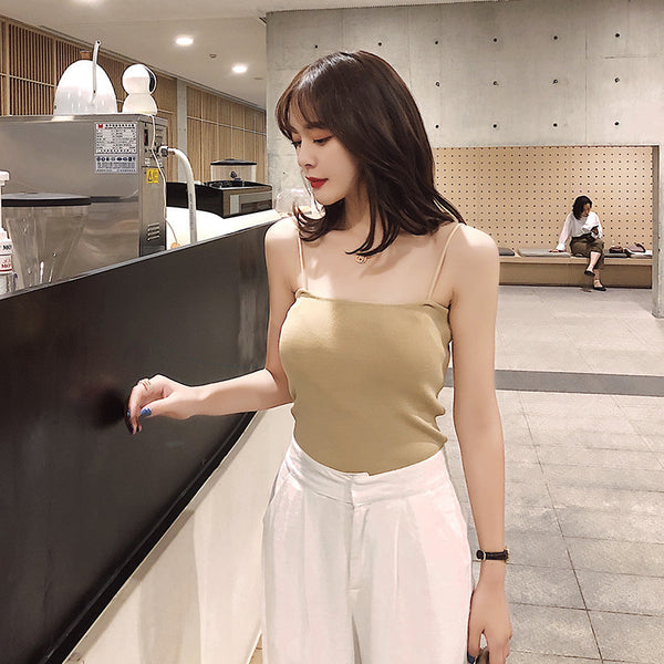 Korea staffing a! Knock can play the small flat knit halter camisole summer