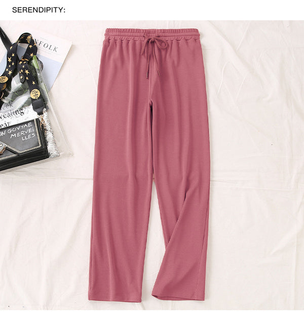 XL waist elastic casual wide leg pants 230 pounds fat MM Korean wild simple straight pants 2317