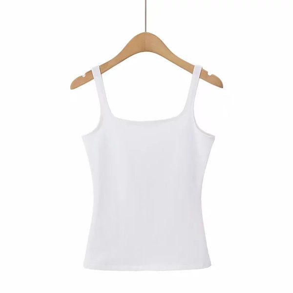2057-20 Korean version of spring models square collar wild Slim models long paragraph camisole net surface