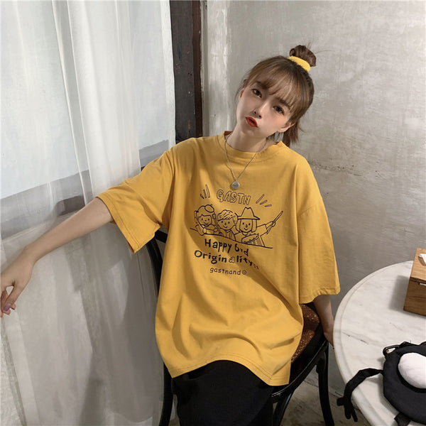2020 Western style loose Korean summer Harajuku bf wind long section of the new wild casual cotton short-sleeved t Korean