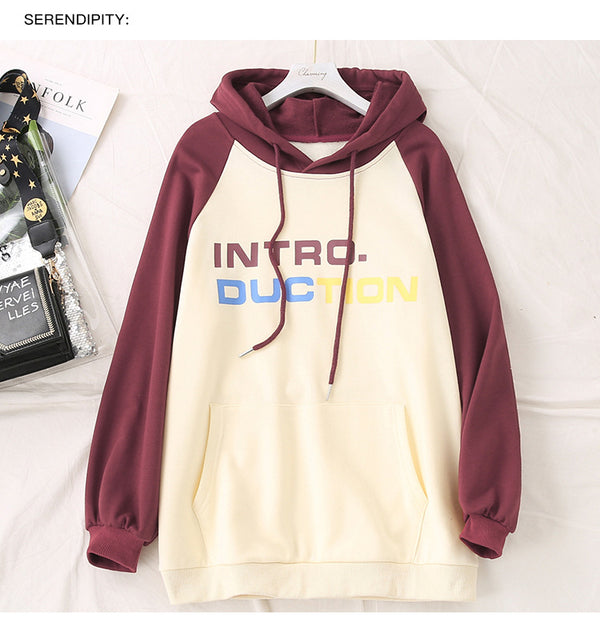 2020 spring new large size casual shirt loose fat MM Korean wild collision color printing hooded sweater 2293