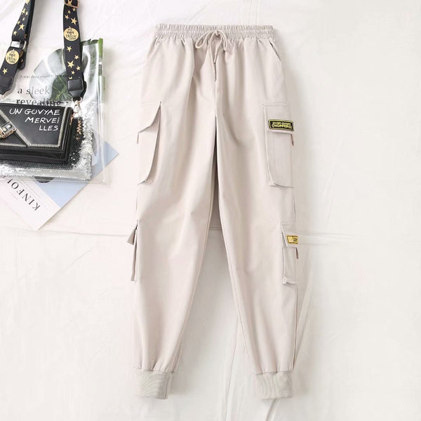 Fat MM2020 spring new fertilizer to increase code leisure loose waist overalls Korean overalls foot beam 012