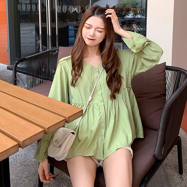 Solid color shirt female 2020 spring new design sense was thin loose long-sleeved shirt Korean version of a small minority Port wind jacket