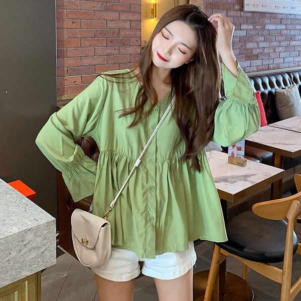 Solid color shirt female 2020 spring new design sense was thin loose long-sleeved shirt Korean version of a small minority Port wind jacket (green One Size)