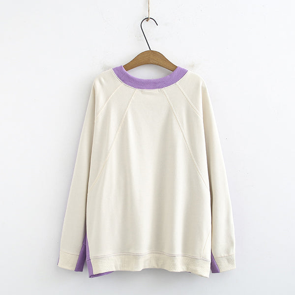 2020 spring lazy wind spell color leisure sweater fat MM Korean version of the XL loose round neck long-sleeved T-shirt 9053