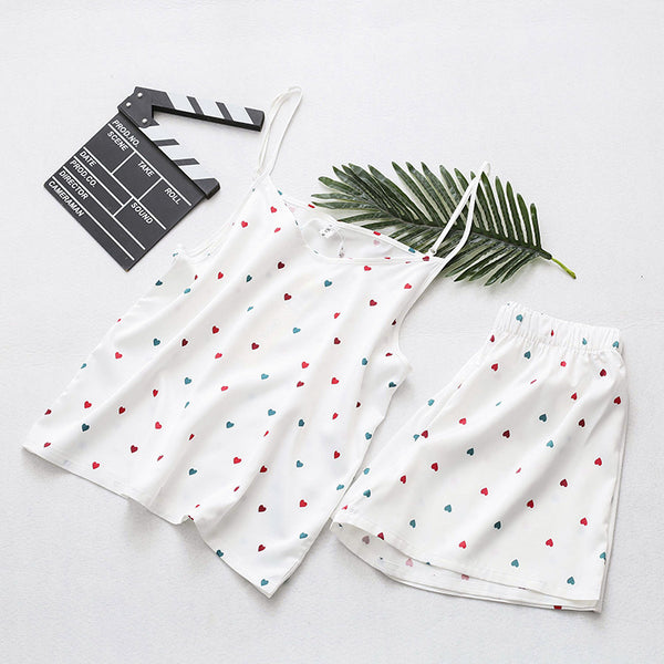 2020 summer two-piece 210 pounds of fat MM Korean love printing camisole pajamas pants suit 2012