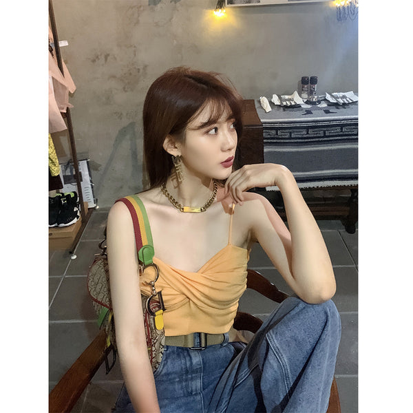 Red spring and summer 2020 with network models customized full of vitality knitted sling worn Ensemble wild compelling