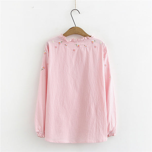 Spring and summer new large size women 200 pounds fat MM casual fashion loose pullover embroidered long-sleeved T-shirt 0154