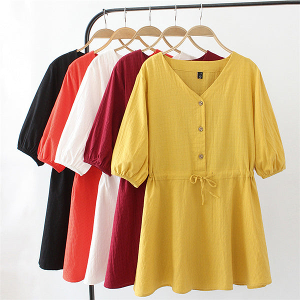 2020 summer new T-shirt 200 pounds of fat MM Korean loose waist Sleeve V-neck was thin Wawa Shan 2025