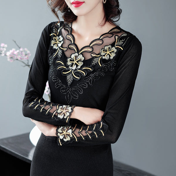 Ride Western style shirt Slim mesh lace shirt female long-sleeved within the new spring fashion shirt thin section 2020