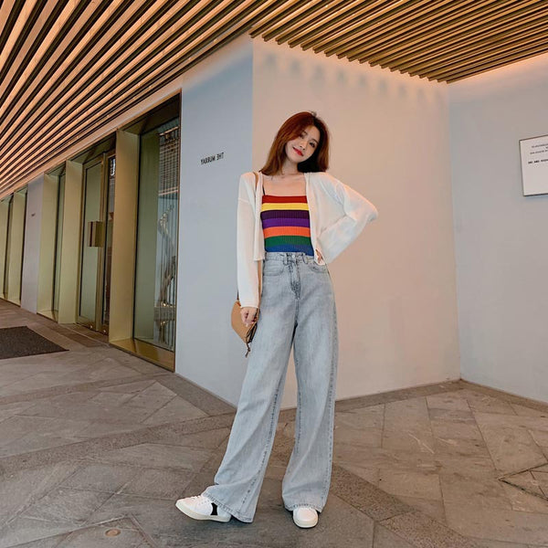 2020 spring models hit the color solid color knit Rainbow camisole tops female outer wear HyunA