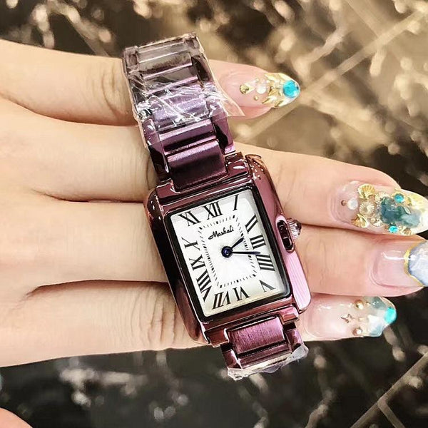 Trendinggate.com 2018Hot brand Martha Li purple shell Roman scale steel band ladies watches support a generation of hair