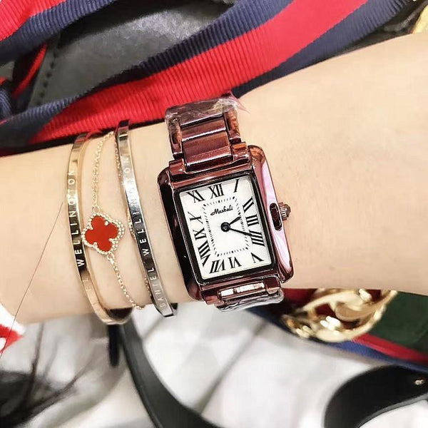 Trendinggate.com Purple steel strip 2018Hot brand Martha Li purple shell Roman scale steel band ladies watches support a generation of hair