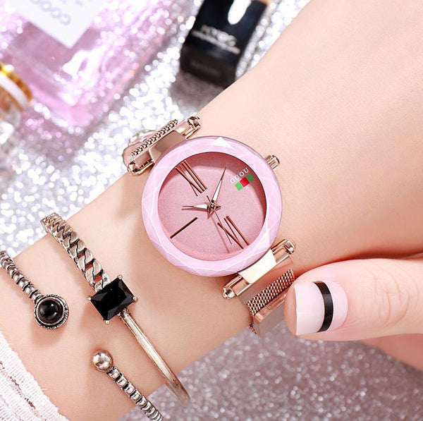 Trendinggate.com Pink 2018New ancient Watch women's simple fashion trend women's watch waterproof net red shake sound the same generation