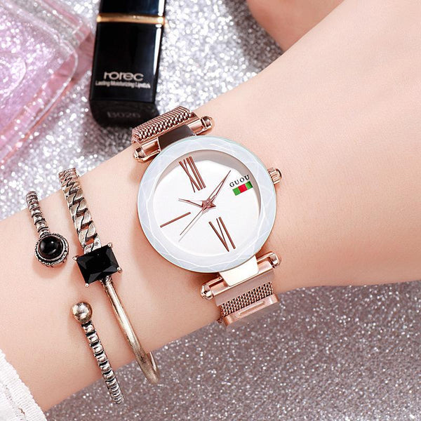 Trendinggate.com White 2018New ancient Watch women's simple fashion trend women's watch waterproof net red shake sound the same generation