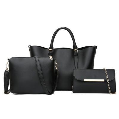 Trendinggate.com black 2018New Kind of Women's Bag Fashion Korean Fashion Chain Three-piece Kit Bag One Shoulder Slant Leisure Lady's Bag