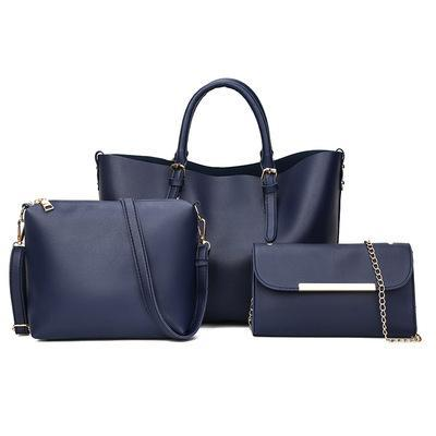 Trendinggate.com blue 2018New Kind of Women's Bag Fashion Korean Fashion Chain Three-piece Kit Bag One Shoulder Slant Leisure Lady's Bag