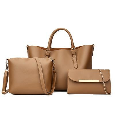 Trendinggate.com Brown 2018New Kind of Women's Bag Fashion Korean Fashion Chain Three-piece Kit Bag One Shoulder Slant Leisure Lady's Bag