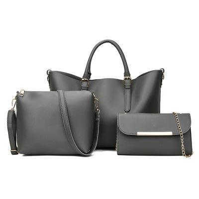 Trendinggate.com gray 2018New Kind of Women's Bag Fashion Korean Fashion Chain Three-piece Kit Bag One Shoulder Slant Leisure Lady's Bag