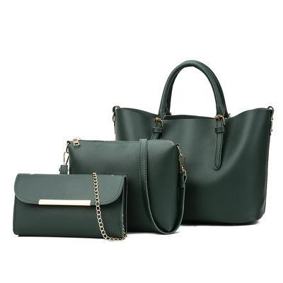 Trendinggate.com Green 2018New Kind of Women's Bag Fashion Korean Fashion Chain Three-piece Kit Bag One Shoulder Slant Leisure Lady's Bag