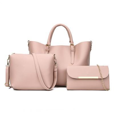 Trendinggate.com Pink 2018New Kind of Women's Bag Fashion Korean Fashion Chain Three-piece Kit Bag One Shoulder Slant Leisure Lady's Bag