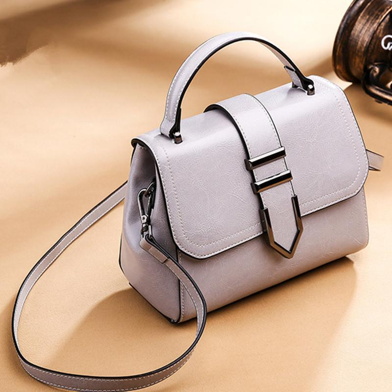 Trendinggate.com Beautiful grey 2018Spring women's handbags women's shoulder bags Korean version of Joker real leather bags women's minimalist fashion ebay a generation of hair