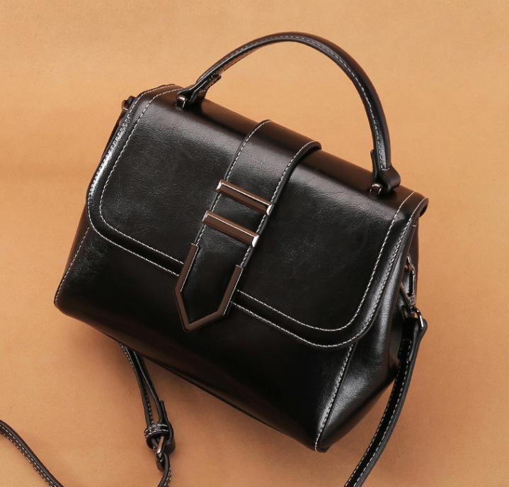 Trendinggate.com Black 2018Spring women's handbags women's shoulder bags Korean version of Joker real leather bags women's minimalist fashion ebay a generation of hair