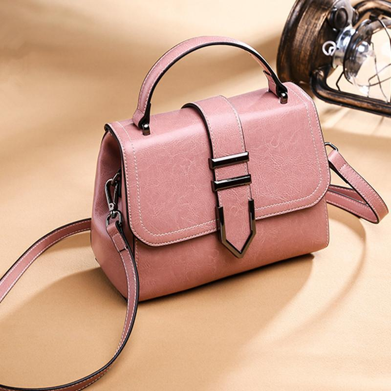 Trendinggate.com Sweet powde 2018Spring women's handbags women's shoulder bags Korean version of Joker real leather bags women's minimalist fashion ebay a generation of hair