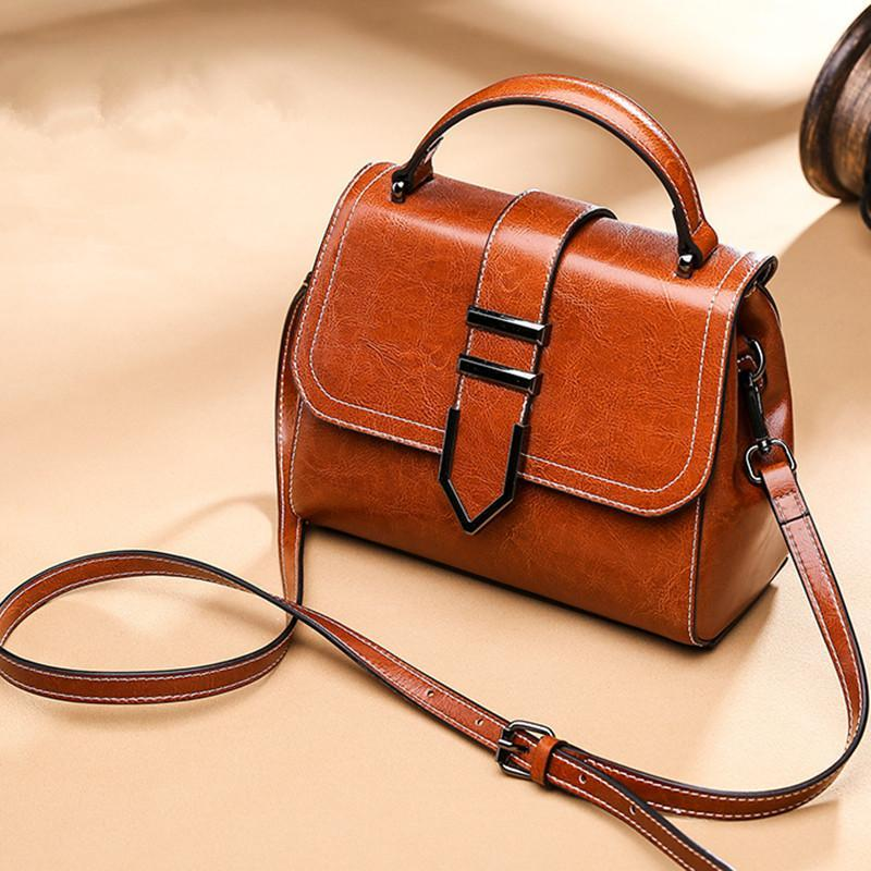 Trendinggate.com Vintage Brown 2018Spring women's handbags women's shoulder bags Korean version of Joker real leather bags women's minimalist fashion ebay a generation of hair