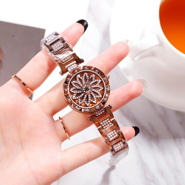Trendinggate.com caramel colour 2019 hot sale models YJ6 full drill when running watch women shaking voice net red with ladies watches