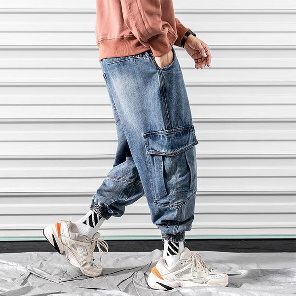 Trendinggate.com 2019Autumn new Japanese curtain door large size tooling collision color large pocket jeans