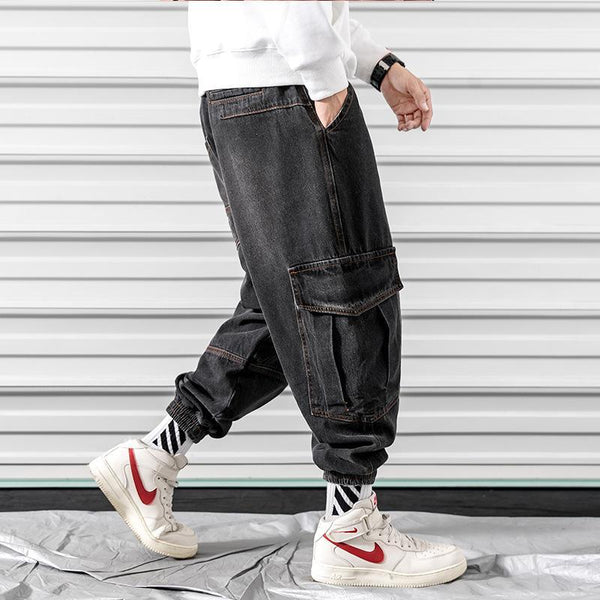 Trendinggate.com Black / 2XL 2019Autumn new Japanese curtain door large size tooling collision color large pocket jeans