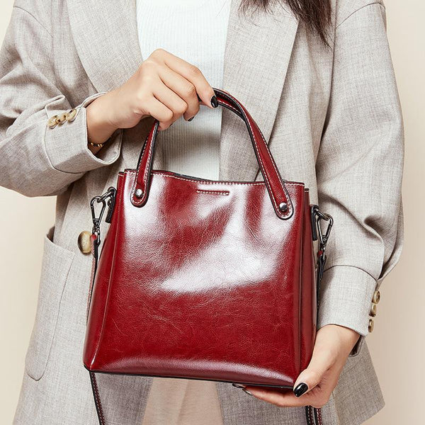 Trendinggate.com 2019Autumn/Winter new limited edition retro wax cowhide bag classic hundred-set bucket bag leather women's bag