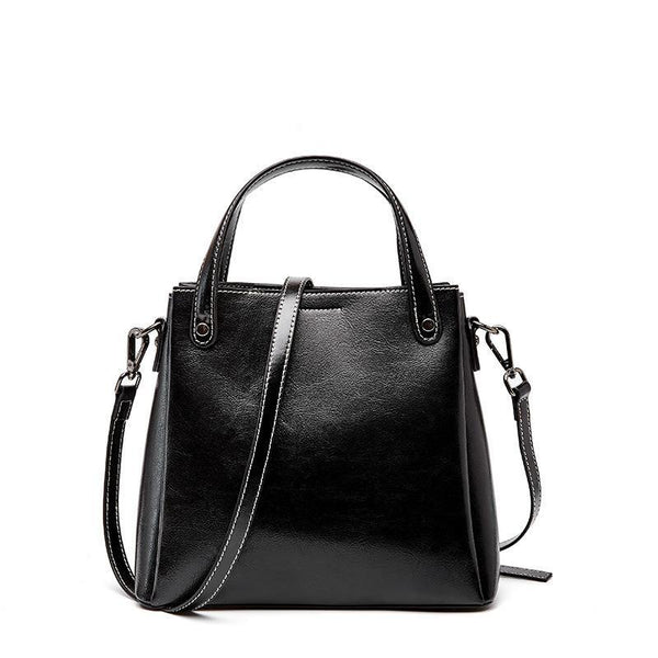 Trendinggate.com Black 2019Autumn/Winter new limited edition retro wax cowhide bag classic hundred-set bucket bag leather women's bag