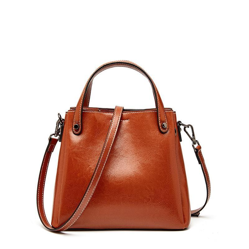 Trendinggate.com Brown 2019Autumn/Winter new limited edition retro wax cowhide bag classic hundred-set bucket bag leather women's bag