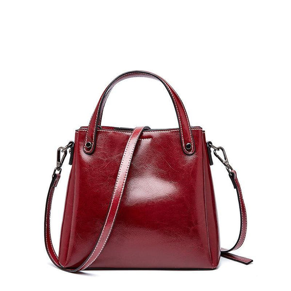 Trendinggate.com Claret 2019Autumn/Winter new limited edition retro wax cowhide bag classic hundred-set bucket bag leather women's bag