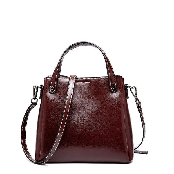 Trendinggate.com Curry 2019Autumn/Winter new limited edition retro wax cowhide bag classic hundred-set bucket bag leather women's bag