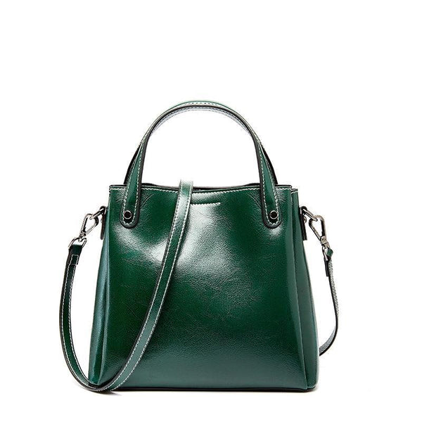 Trendinggate.com green 2019Autumn/Winter new limited edition retro wax cowhide bag classic hundred-set bucket bag leather women's bag