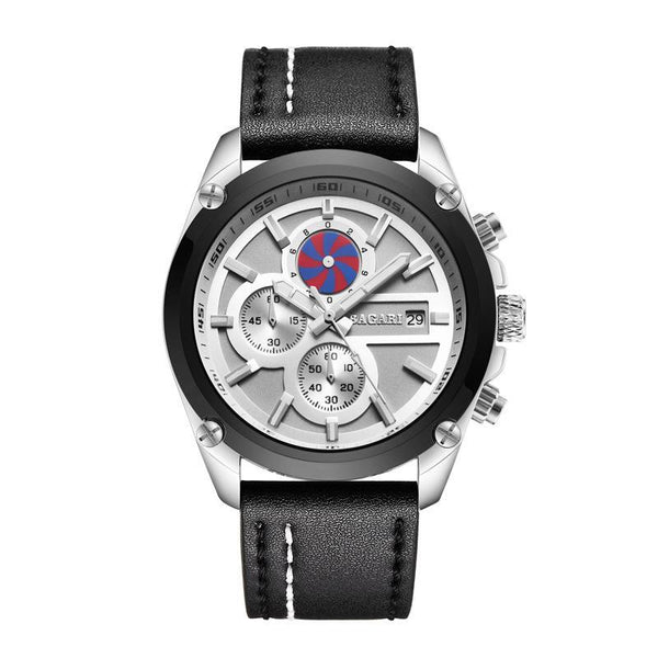 Trendinggate.com Black Belt on Grey Surface of Silver Black Shell 2019factory-direct, multi-functional, sports watch, men's latest explosion-proof leather waterproof watch, watches