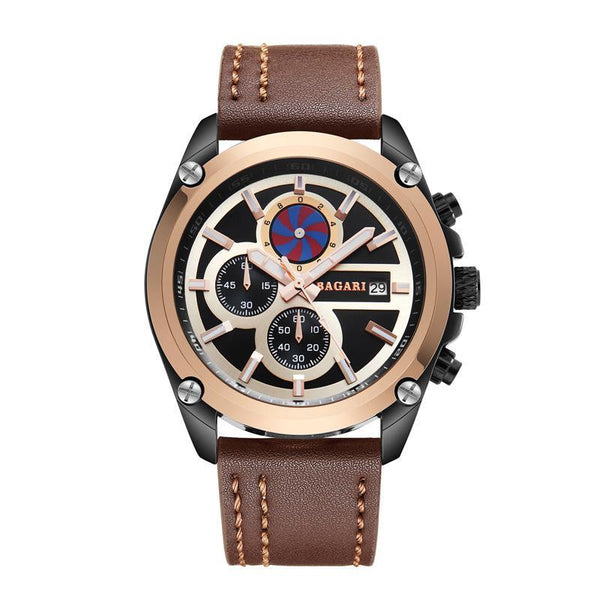 BAGARI men's latest explosion-proof leather watch
