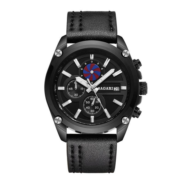 Trendinggate.com Black shell, black face, black belt 2019factory-direct, multi-functional, sports watch, men's latest explosion-proof leather waterproof watch, watches