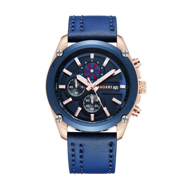 Trendinggate.com Mei blue shell blue surface blue belt 2019factory-direct, multi-functional, sports watch, men's latest explosion-proof leather waterproof watch, watches