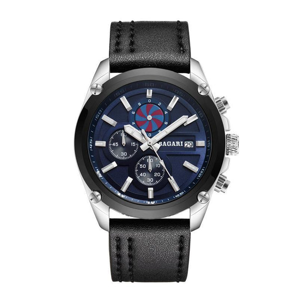 Trendinggate.com Silver Black Shell blue surface black belt 2019factory-direct, multi-functional, sports watch, men's latest explosion-proof leather waterproof watch, watches
