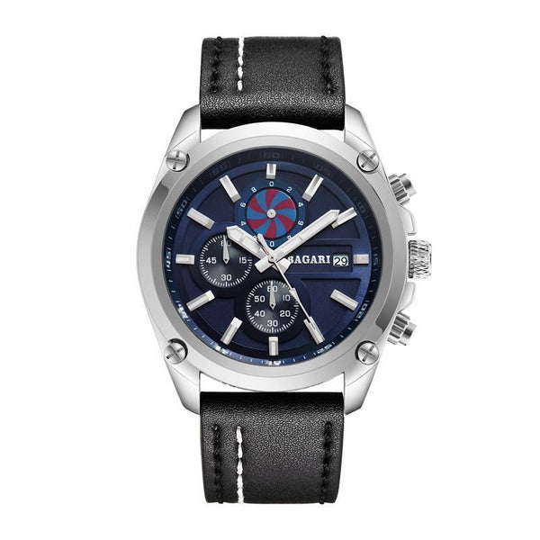 Trendinggate.com Silver shell blue black belt 2019factory-direct, multi-functional, sports watch, men's latest explosion-proof leather waterproof watch, watches