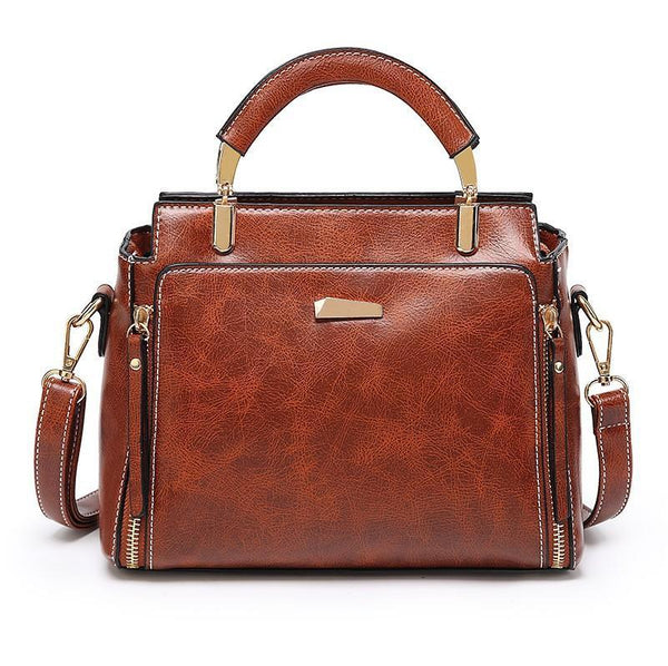 Trendinggate.com 2019Korean version of the new large-capacity handbags waxed leather handbags retro trendy women's fashion shoulder Messenger bag