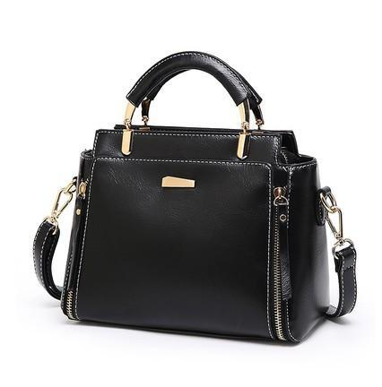 Trendinggate.com black 2019Korean version of the new large-capacity handbags waxed leather handbags retro trendy women's fashion shoulder Messenger bag